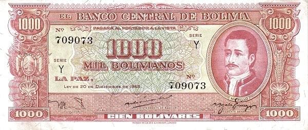Bolivia 1000 Bolivianos (1945 Banco Central de Bolivia-Second Issue)
