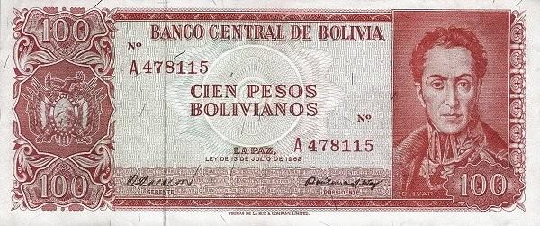 Bolivia 100 Pesos Bolivianos (1962  Banco Central de Bolivia)