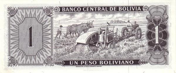 "Bolivia 1 Peso Boliviano (1962 ""Peso Boliviano""-Banco Central de Bolivia)"