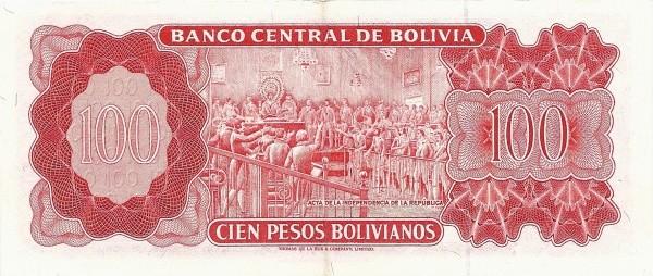 """Bolivia 100 Pesos Bolivianos (1962 """"Peso Boliviano""""-Banco Central de Bolivia)"""