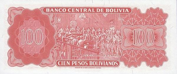 """Bolivia 100 Pesos Bolivianos (1962 """"Peso Boliviano""""-Banco Central de Bolivia- 10E - 13D)"""