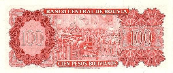 """Bolivia 100 Pesos Bolivianos (1962 """"Peso Boliviano""""-Banco Central de Bolivia- 13E - 19T)"""