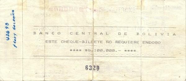 """Bolivia 100000 Pesos Bolivianos (1984 """"La Paz"""")"""