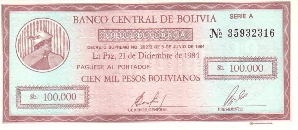 Bolivia 100000 Pesos Bolivianos (1984 Decreto Supremo No. 20272)