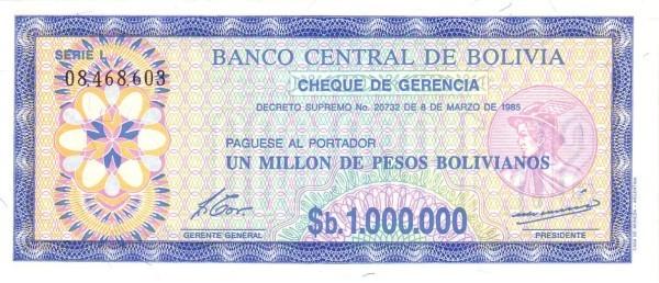 Bolivia 1000000 Pesos Bolivianos (1985 Decreto Supremo No. 20732-Second Issue)