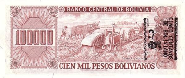 """Bolivia 10 Centavos (1987 Provisional """"Boliviano Overprint"""")"""