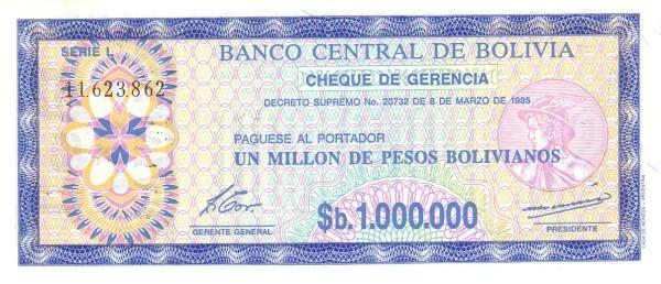 "Bolivia 1 Boliviano (1987 Provisional ""Boliviano Overprint"")"