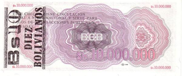 """Bolivia 10 Bolivianos (1987 Provisional """"Boliviano Overprint"""")"""
