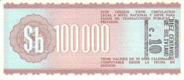 """Bolivia 10 Centavos (1987 Provisional """"Boliviano Overprint""""-2)"""