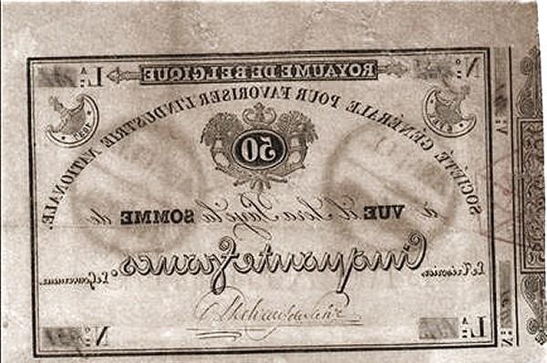 Belgium 50 Francs (1837 Société Générale pour Favoriser l'Industrie Nationale)