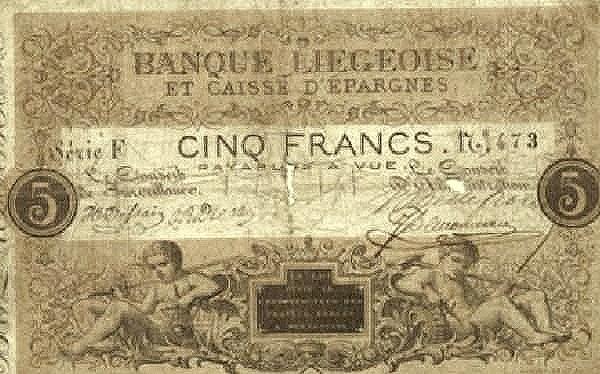 Belgium 5 Francs (1835 Banque Liègeoise et Caisse d'Épargnes)