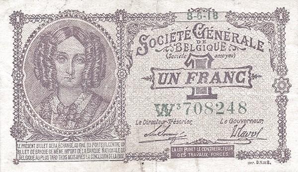 Belgium 1 Franc (1915-1918  Société Générale de Belgique)