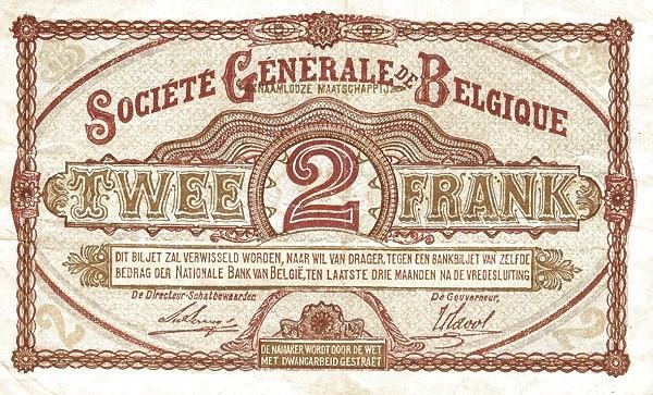 Belgium 2 Francs (1915-1918  Société Générale de Belgique)