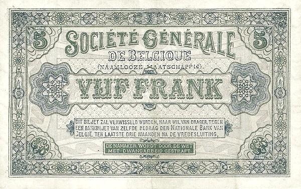 Belgium 5 Francs (1915-1918  Société Générale de Belgique)