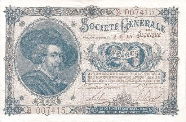 Belgium 20 Francs (1915-1918  Société Générale de Belgique)