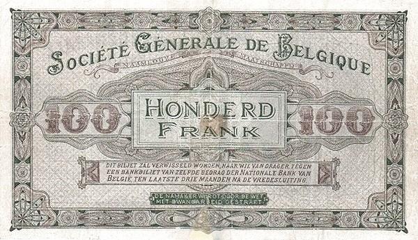 Belgium 100 Francs (1915-1918  Société Générale de Belgique)
