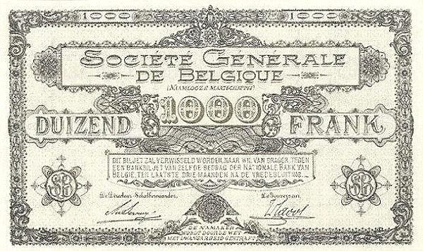 Belgium 1000 Francs (1915-1918  Société Générale de Belgique)