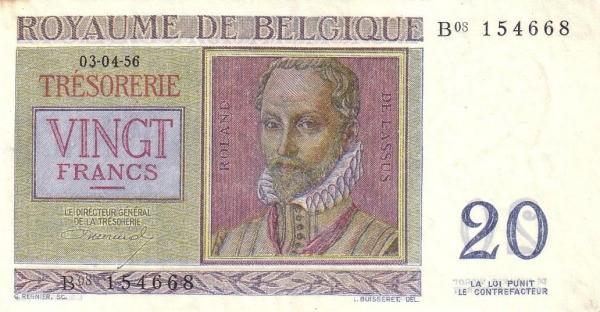 Belgium 20 Francs (1956 Royaume de Belgique - Trésorerie)