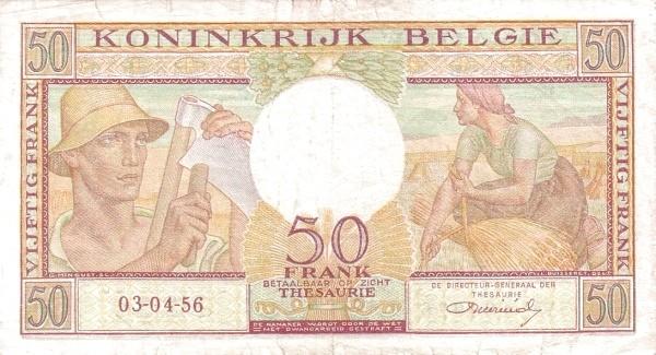 Belgium 50 Francs (1956 Royaume de Belgique - Trésorerie)