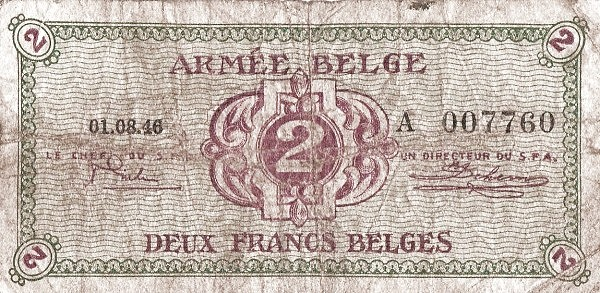 """Belgium 2 Francs (1946 """"Military Payment Certificates"""")"""