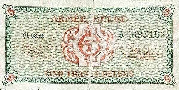 """Belgium 5 Francs (1946 """"Military Payment Certificates"""")"""