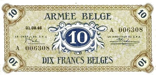 """Belgium 10 Francs (1946 """"Military Payment Certificates"""")"""