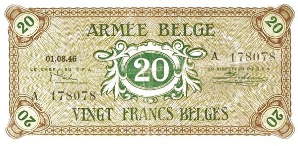 """Belgium 20 Francs (1946 """"Military Payment Certificates"""")"""