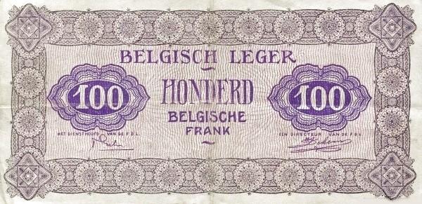"""Belgium 100 Francs (1946 """"Military Payment Certificates"""")"""