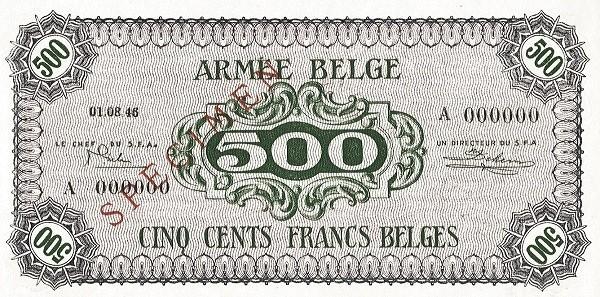 """Belgium 500 Francs (1946 """"Military Payment Certificates"""")"""
