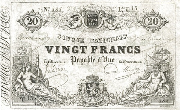 Belgium 20 Francs (1850-1862 Banque Nationale)