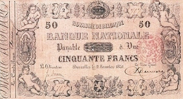 Belgium 50 Francs (1850-1862 Banque Nationale-1)
