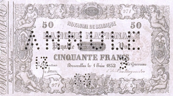Belgium 50 Francs (1850-1862 Banque Nationale-2)