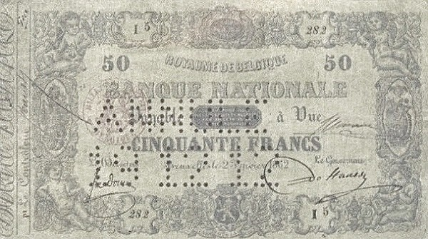 Belgium 50 Francs (1850-1862 Banque Nationale-3)