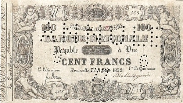 Belgium 100 Francs (1850-1862 Banque Nationale-1)