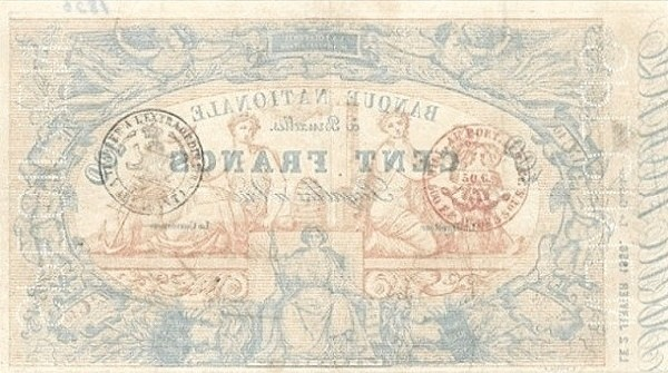Belgium 100 Francs (1850-1862 Banque Nationale-2)