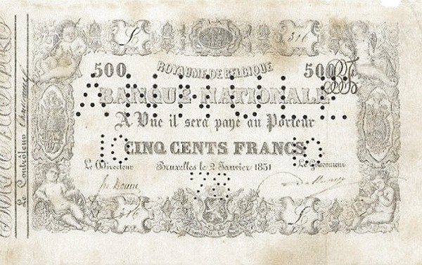 Belgium 500 Francs (1850-1862 Banque Nationale-1)