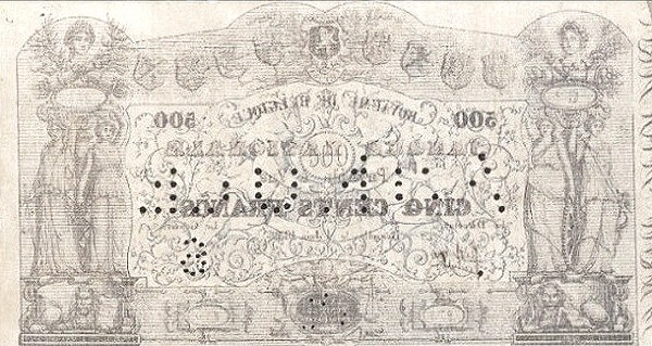 Belgium 500 Francs (1850-1862 Banque Nationale-2)