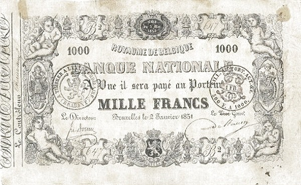 Belgium 1000 Francs (1850-1862 Banque Nationale-1)