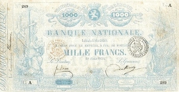 Belgium 1000 Francs (1850-1862 Banque Nationale-2)