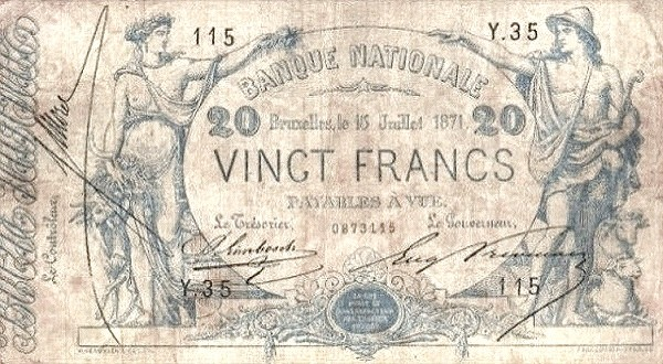 Belgium 20 Francs (1869-1886 Banque Nationale)