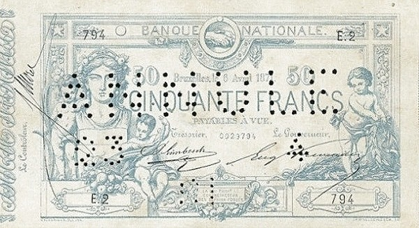 Belgium 50 Francs (1869-1886 Banque Nationale)