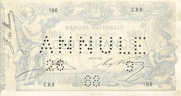 Belgium 100 Francs (1869-1886 Banque Nationale)