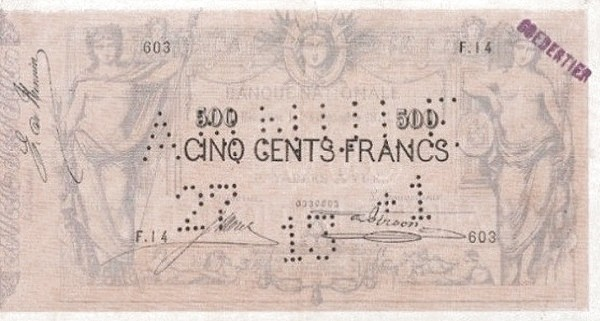 Belgium 500 Francs (1869-1886 Banque Nationale)