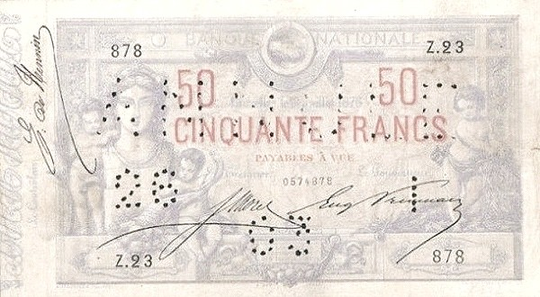 Belgium 50 Francs (1875-1879 Banque Nationale)