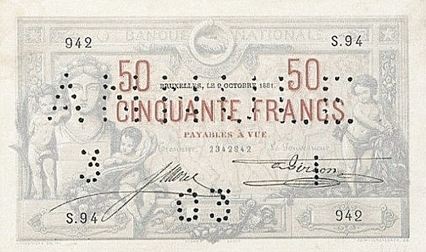 Belgium 50 Francs (1879-1892 Banque Nationale)