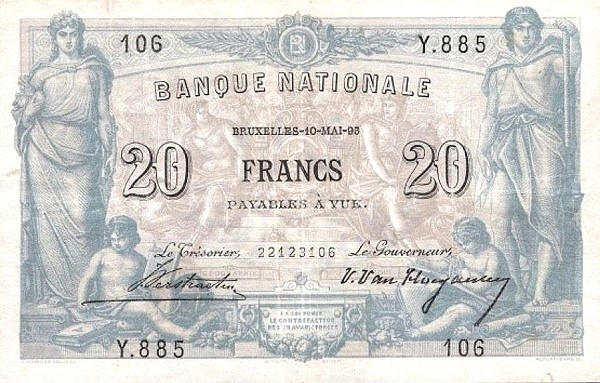 Belgium 20 Francs (1883-1909 Banque Nationale)