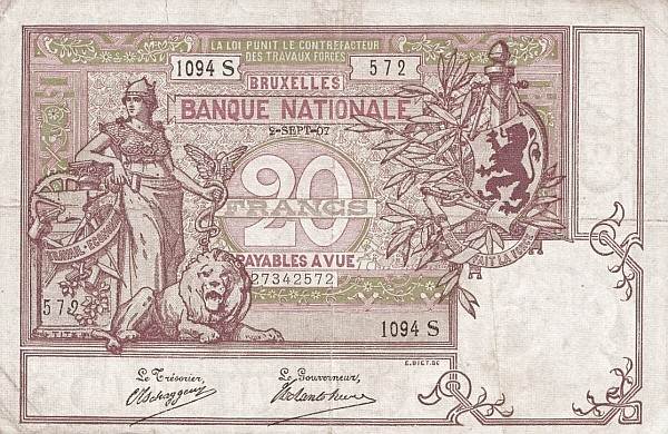 Belgium 20 Francs (1883-1909 Banque Nationale-2)