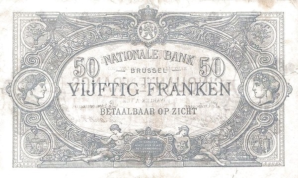 Belgium 50 Francs (1883-1909 Banque Nationale)