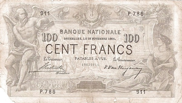 Belgium 100 Francs (1883-1909 Banque Nationale)