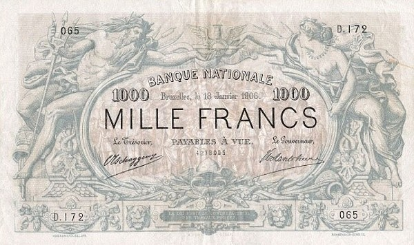 Belgium 1000 Francs (1883-1909 Banque Nationale)